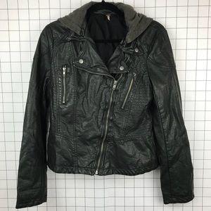 FREE PEOPLE vegan leather hooded jacket 10